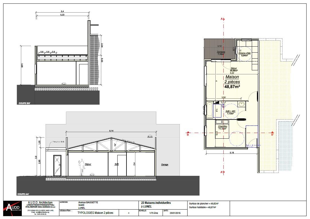 Plans coupes façade permis de construire - Architecture